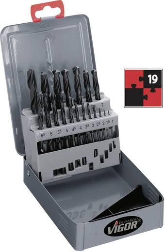 HSS Metall-Spiralbohrer-Set 19teilig Vigor V1203 rollgewalzt DIN 338 Zylinderschaft 1 Set