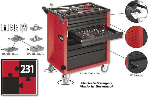 Vigor V1483 Werkstattwagen mit 231 teiligem Werkzeugsortiment Abmessungen:(B x H x T) 770 x 900 x 490 mm 64 kg