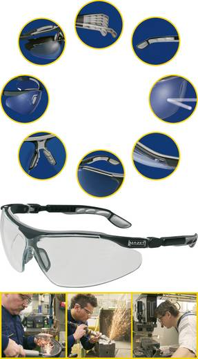 Schutzbrille Hazet 1985-1 Silber, Schwarz DIN EN 166-1, DIN EN 167, DIN EN 168