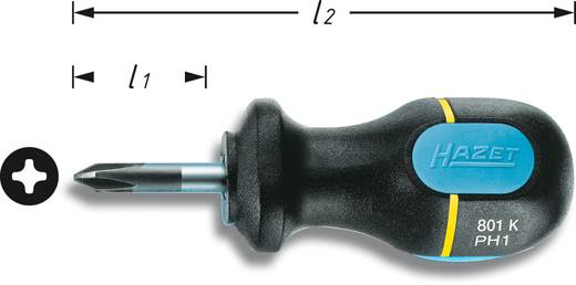 Werkstatt Kreuzschlitz-Schraubendreher Hazet PH 1 Klingenlänge: 25 mm