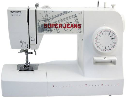 Jeans-Freiarmnähmaschine Toyota Nähmaschinen SUPERJ15WE Super Jeans Lederfunktion Weiß