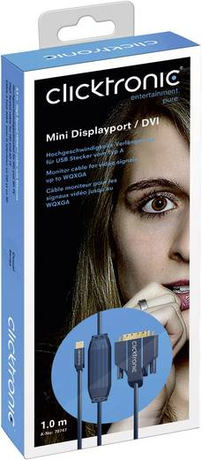 DisplayPort / DVI Anschlusskabel [1x Mini-DisplayPort Stecker - 1x DVI-Stecker 24+1pol.] 5 m Blau clicktronic