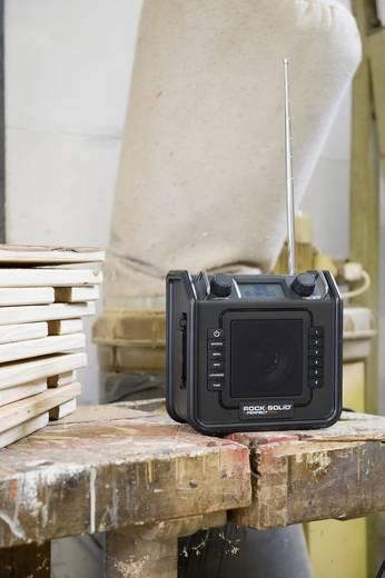 UKW Baustellenradio PerfectPro ROCKSOLIS AUX, UKW spritzwassergeschützt, staubdicht, stoßfest Schwarz