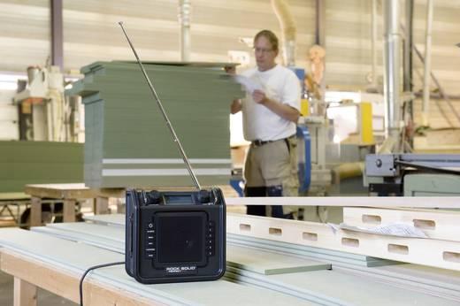 UKW Baustellenradio PerfectPro Rocksolid AUX, UKW spritzwassergeschützt, staubdicht, stoßfest Schwarz