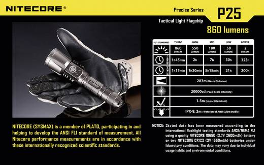LED Taschenlampe NiteCore P25B Smilodon batteriebetrieben 860 lm 325 h 171 g