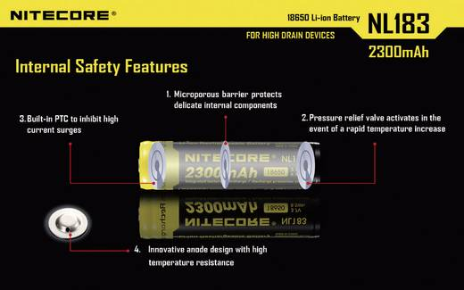 NiteCore NL183 Spezial-Akku 18650 Li-Ion 3.7 V 2300 mAh