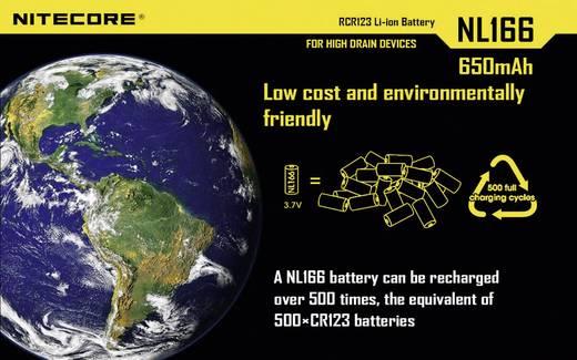 NiteCore NL166 Spezial-Akku 16340 Li-Ion 3.7 V 650 mAh
