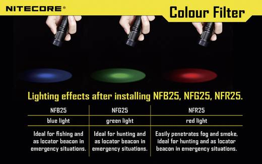 Farbfilter Grün Passend für (Details): EC1, EC2, EA1, EA2, MT2C, P12, SRT3, SRT5 und Taschenlampen mit einen Ø 25 mm NiteCore NITNFG25