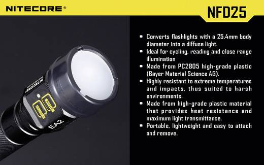 Diffusor EC1, EC2, EA1, EA2, MT2C, P12, SRT3, SRT5 und Taschenlampen mit einen Ø 25 mm NiteCore NITNFD25