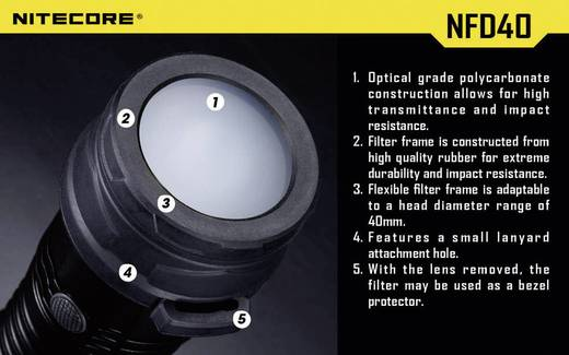 Diffusor Passend für (Details): MH25, EA4, P25, P16, P15, SRT7, CR6, CG6, CB6, CI6, CU6 und Taschenlampen mit einen Ø 39 - 42 mm NiteCore NITNFD40