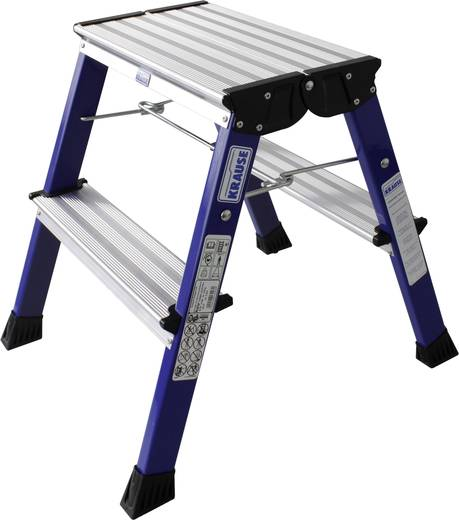 Aluminium Doppel-Klapptritt klappbar Arbeitshöhe (max.): 2.45 m Krause 130082 Blau 1.7 kg