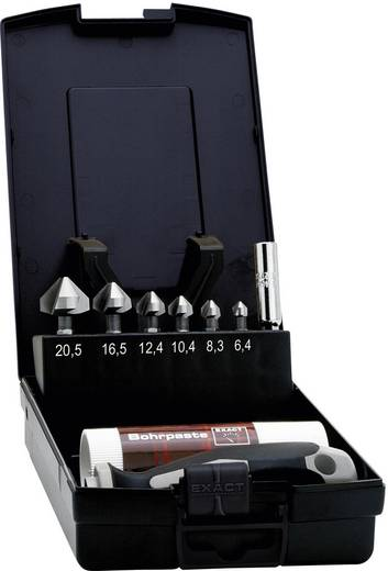 "Kegelsenker-Set 8teilig 6.3 mm, 8.3 mm, 10.4 mm, 12.4 mm, 16.5 mm, 20.5 mm HSS Exact 1605649 1/4"" (6.3 mm) 1 Set"
