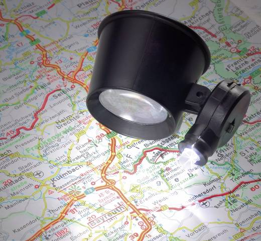 Handlupe mit LED-Beleuchtung Vergrößerungsfaktor: 10 x Linsengröße: (Ø) 21 mm RONA 450513