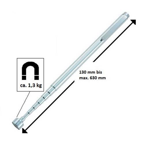 Magnetheber in Stiftform ausziehbar 130 - 630 mm 1,3 kg Hebekraft TOOLCRAFT 815782