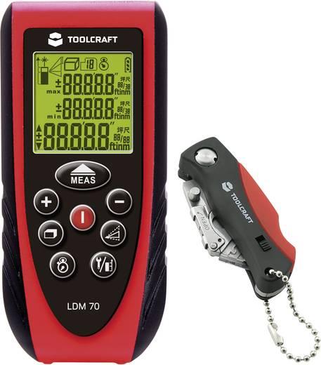"TOOLCRAFT LDM 70 Laser-Entfernungsmesser Stativadapter 6.3 mm (1/4""), inkl. Cuttermesser Messbereich (max.) 70 m Kalibriert nach: Werksstandard"