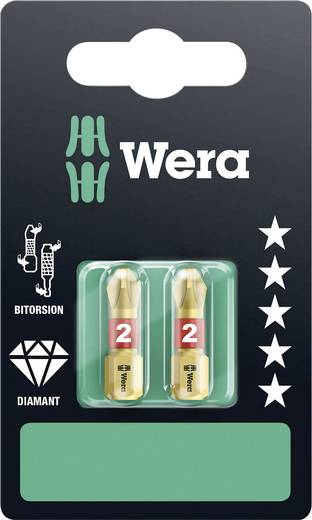 Kreuzschlitz-Bit PH 2 Wera 851/1 BDC D SB Werkzeugstahl diamantbeschichtet, legiert D 6.3 2 St.