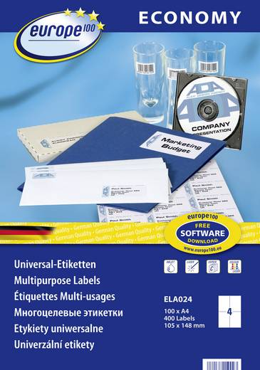 Europe 100 ELA024 Etiketten 105 x 148.5 mm Papier Weiß 400 St. Permanent Universal-Etiketten Tinte, Laser, Kopie 100 Bla