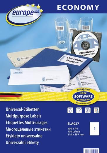 Europe 100 ELA027 Etiketten 210 x 297 mm Papier Weiß 100 St. Permanent Universal-Etiketten Tinte, Laser, Kopie 100 Blatt