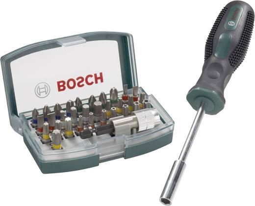 Bit-Set 32teilig Bosch Promoline 2607017189 Schlitz, Kreuzschlitz Phillips, Kreuzschlitz Pozidriv, Innen-Sechskant, Innen-TORX, TORX BO inkl. Bithalter-Schraubendreher