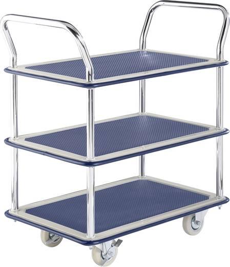 Etagenwagen Stahl verchromt Traglast (max.): 120 kg Blau, Silber
