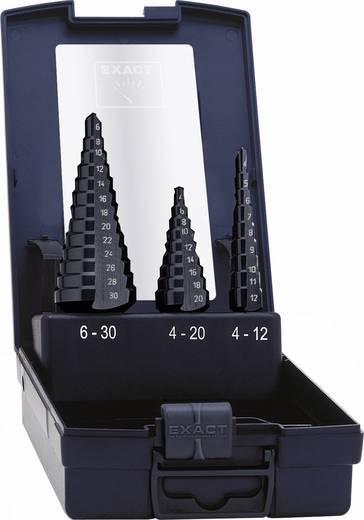 HSS Stufenbohrer-Set 3teilig 4 - 12 mm, 4 - 20 mm, 6 - 30 mm TiAIN Exact 50071 3-Flächenschaft 1 Set