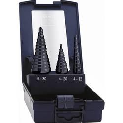 Sada stupňovitých vrtákov Exact 50071, TiAIN, 4 - 12 mm, 4 - 20 mm, 6 - 30 mm, 3 ks
