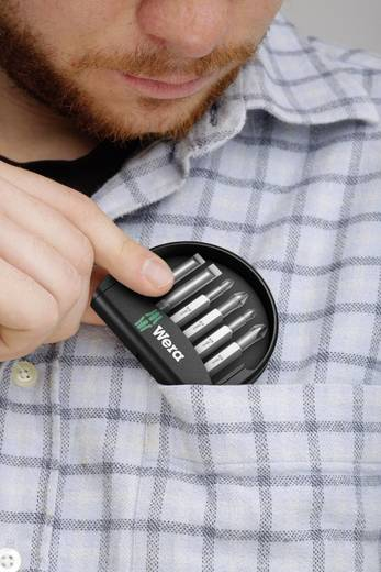 Bit-Set 6teilig Wera Mini-Check, 50 mm 05056474001 Schlitz, Kreuzschlitz Phillips, Kreuzschlitz Pozidriv
