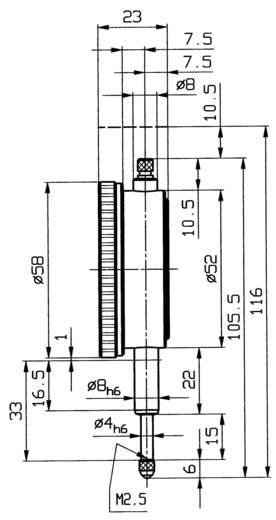Messuhr 10 mm Helios Preisser 0701110 Ablesung: 0.01 mm Kalibriert nach ISO