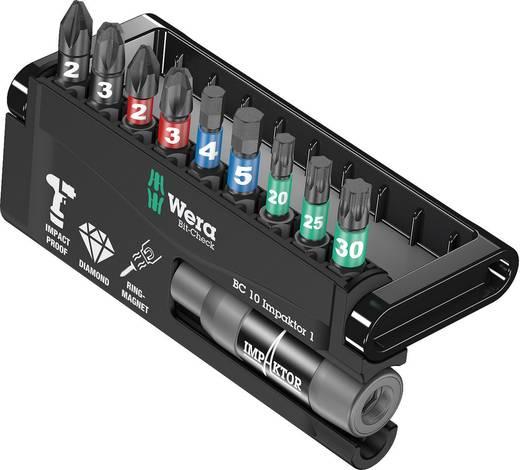 Bit-Set 10teilig Wera 8740/51/55/67-9/IDC Impaktor Bit-Check 05057680001 Kreuzschlitz Phillips, Kreuzschlitz Pozidriv, Innen-TORX, Innen-Sechskant Impaktor-Technologie