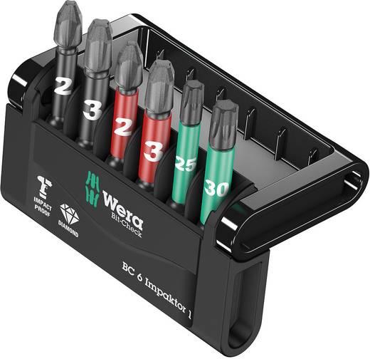 Bit-Set 6teilig Wera Mini-Check Impaktor 4 05057695001 Kreuzschlitz Phillips, Kreuzschlitz Pozidriv, Innen-TORX Impaktor-Technologie