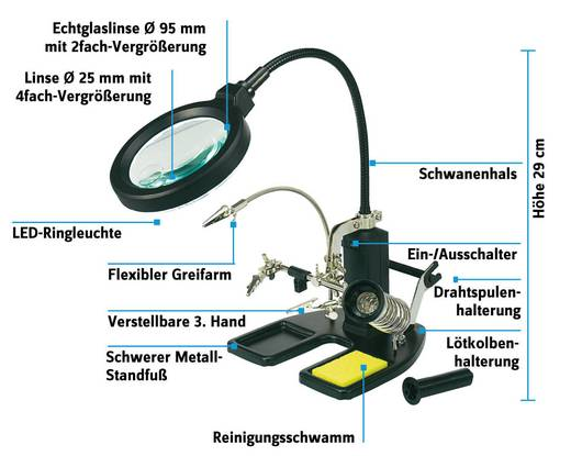 TOOLCRAFT LED-Lupenleuchte mit 3. Hand
