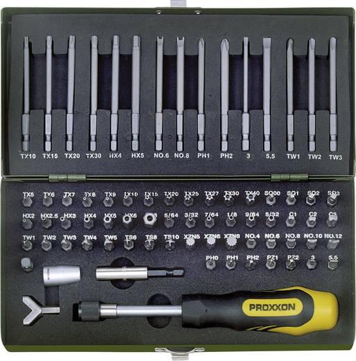 Bit-Set 75teilig Proxxon Industrial 23 107 Schlitz, Kreuzschlitz Phillips, Kreuzschlitz Pozidriv, Tri-Wing, Innen-Vierkant (Robertson), Clutch, Innen-Vielzahn (XZN), TORQ, Innen-Sechskant BO