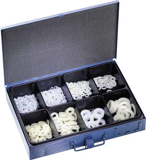 826446 700tlg. Polyamid-U-Scheiben-Sortiment DIN 125 Inhalt 700 St. 2f. Lieferumfang 200 St. 4,3 mm · 200 St. 5,3 mm · 100 St. 6,4 mm · 50 St. 8,4 mm · 50 St. 10,5 mm · 50 St. 13,0 mm · 25 St. 17,0 mm · 25 St. 21,0 mm.