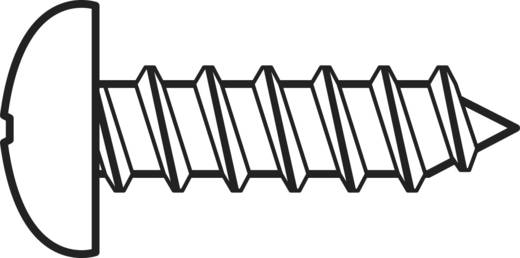 Linsenblechschrauben 2.2 mm 9.5 mm Kreuzschlitz Phillips DIN 7981-C Stahl verzinkt 100 St. TOOLCRAFT 827358