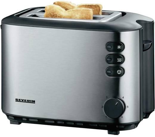 Severin AT 2514 Toaster mit eingebautem Brötchenaufsatz Edelstahl (gebürstet), Schwarz