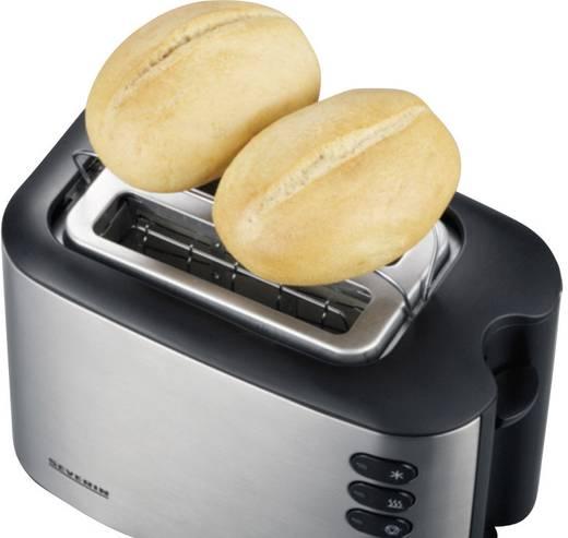 Toaster mit eingebautem Brötchenaufsatz Severin AT 2514 Edelstahl (gebürstet), Schwarz