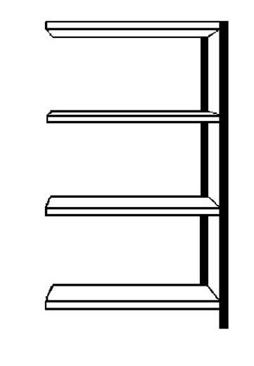 Fachbodenregal-Anbaumodul (B x H x T) 800 x 1500 x 300 mm Stahl pulverbeschichtet Weiß Metallboden