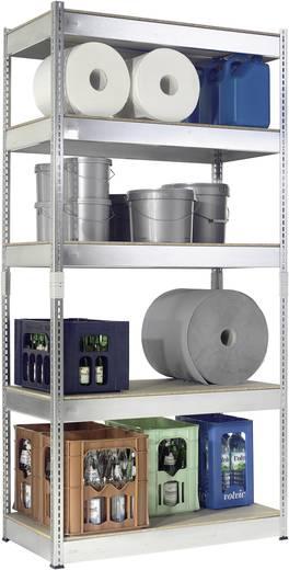 Fachbodenregal-Komplettregal (B x H x T) 1000 x 2000 x 500 mm Stahl verzinkt Silber Holzboden