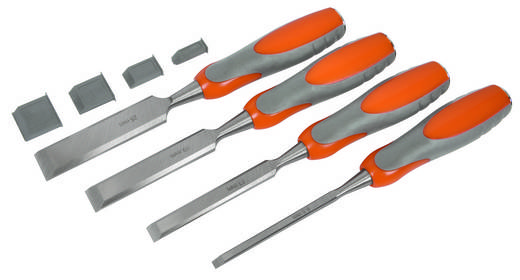 Stechbeitelsatz mit gehärteten Stahlklingen, 6.5, 13, 19, 25 mm Breite AVIT AV10010