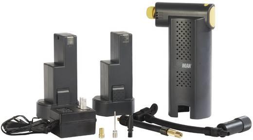 Kompressor 15 bar Airman 55-001-011 Kabelfach/-aufnahme, Doppelkopf, Analoges Manometer, 12 V Adapter zum Betrieb per Kabel, Inkl. 1 Akku, 230 V ladebar