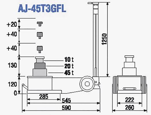 Lufthydraulischer Heber 45/20/10T 45 t TDL AJ-45T3GFL Kunzer lufthydraulischer Heber 45/20/10T