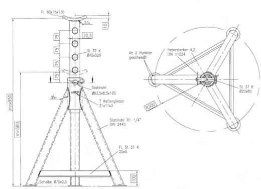 Unterstellbock 8 T 580 mm 580 mm 950 mm 8 t Kunzer AB 8-580 Unterstellbock 8 T 580 mm