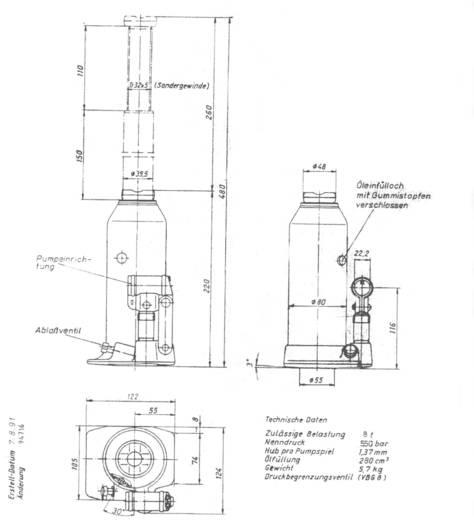 Hydraulische Unterstellheber - Standart 8 t Weber Hydraulik AX 8-220