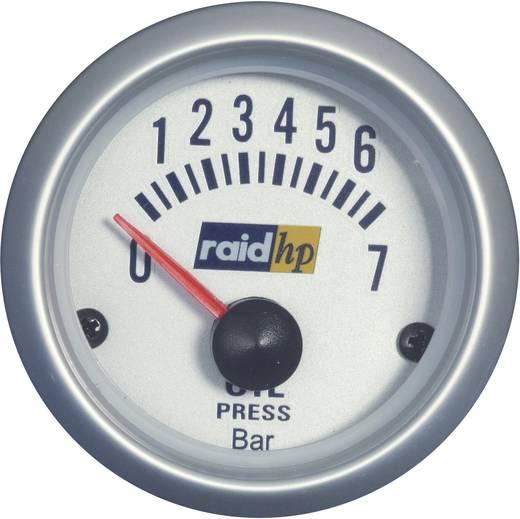 raid hp 660219 Kfz Einbauinstrument Öldruckanzeige Messbereich 7 - 0 bar Silber-Serie Blau-Weiß 52 mm