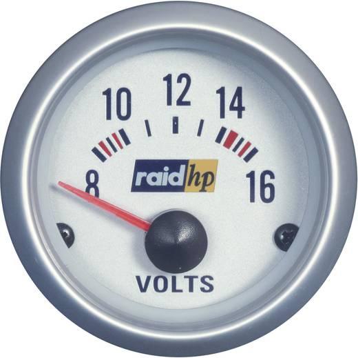 Kfz Einbauinstrument Voltmeter Messbereich 8 - 16 V raid hp 660223 Silber-Serie Blau-Weiß 52 mm