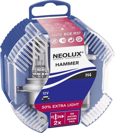 Halogen Leuchtmittel Neolux ExtraLight (White Hammer) H4 60/55 W