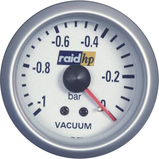 Kfz Einbauinstrument Vakuummeter Messbereich -1 - 0 bar raid hp 660222 Blau-Weiß 52 mm