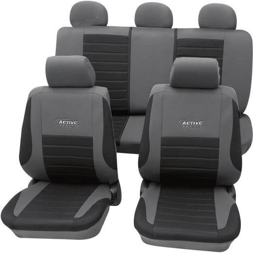 cartrend 60122 Active Sitzbezug 11teilig Polyester Silber Fahrersitz, Beifahrersitz, Rücksitz
