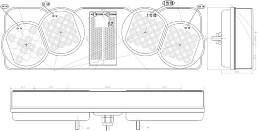 SecoRüt LED LKW-Rückleuchte Blinker, Bremslicht, Rückleuchte, Rückfahrscheinwerfer hinten, links 24 V Klarglas