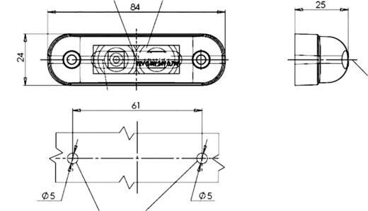 SecoRüt LED Umriss-Markierungsleuchte Markierungsleuchte seitlich 12 V, 24 V Orange Klarglas